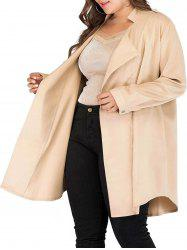 Longline Open Front Seam Pockets Plus Size Coat -