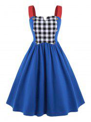 Plus Size Plaid Panel Mock Button Vintage Dress -