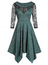 Lace Insert Marled Hanky Hem Dress -