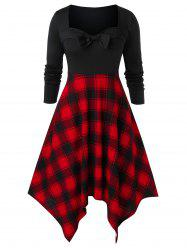 Plus Size Plaid Panel Sweetheart Collar Bowknot Dress -
