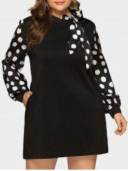 Long Sleeve Bow Tie Polka Dot Plus Size Dress -