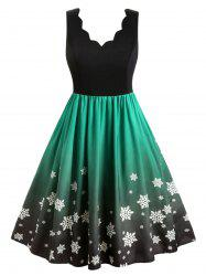 Plus Size Christmas Ombre Snowflake Print Vintage Swing Dress -