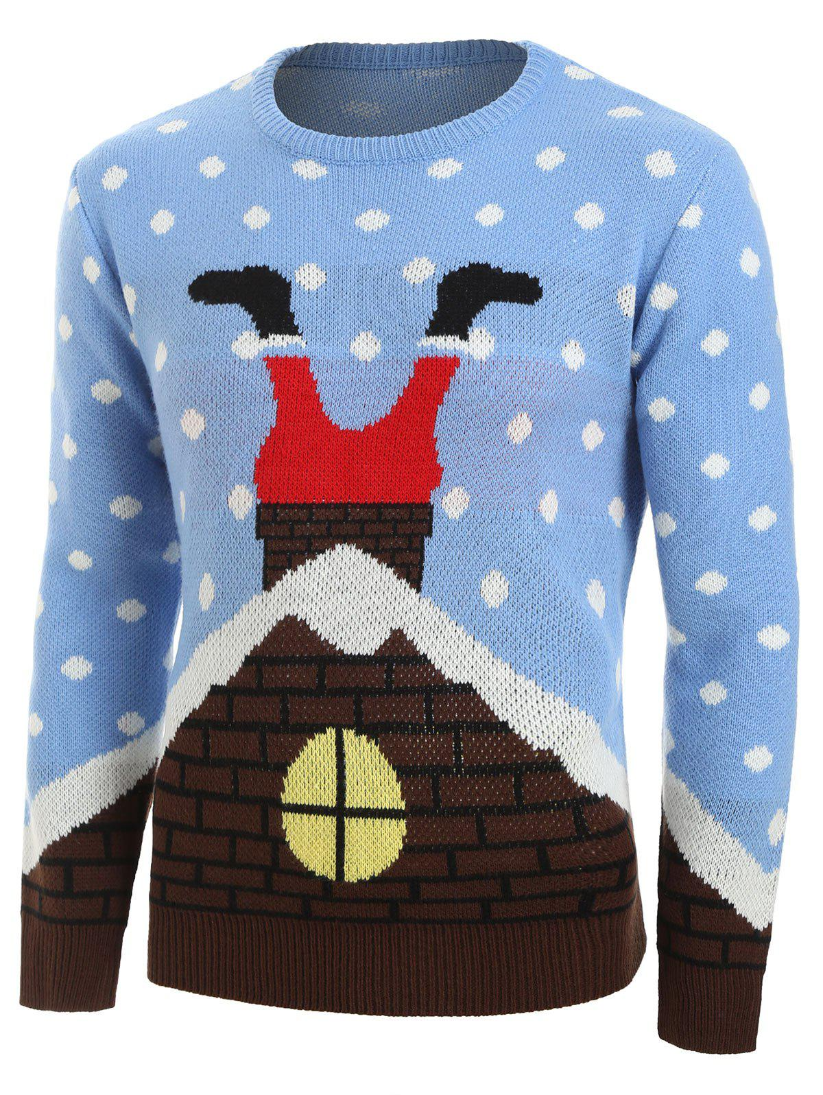 Store Christmas Santa Claus House Pattern Sweater