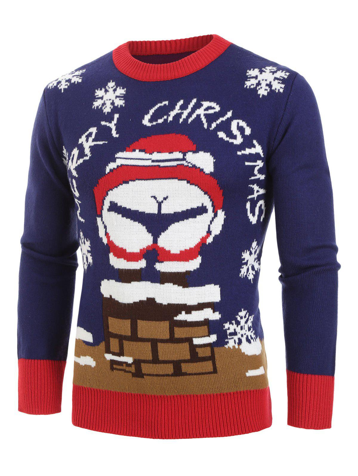 Buy Christmas Santa Claus Pattern Pullover Sweater