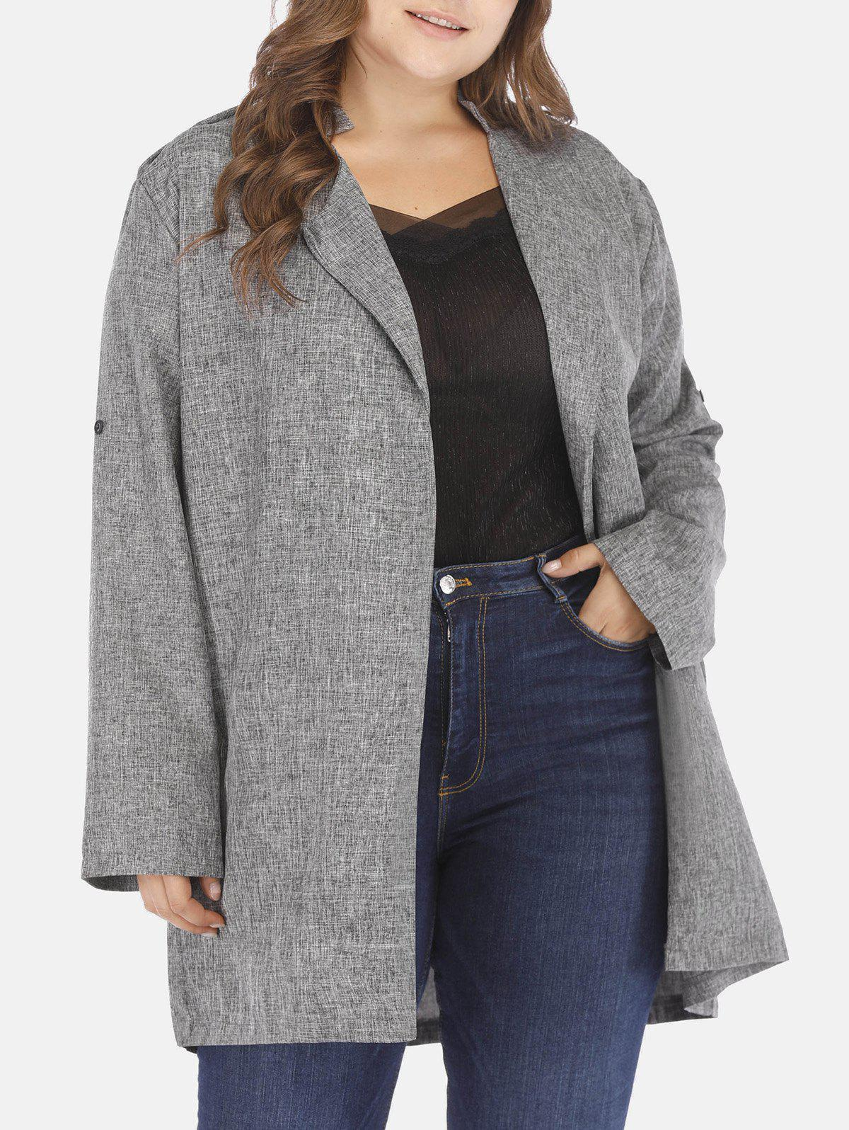 Store Plus Size Heathered Open Front Coat