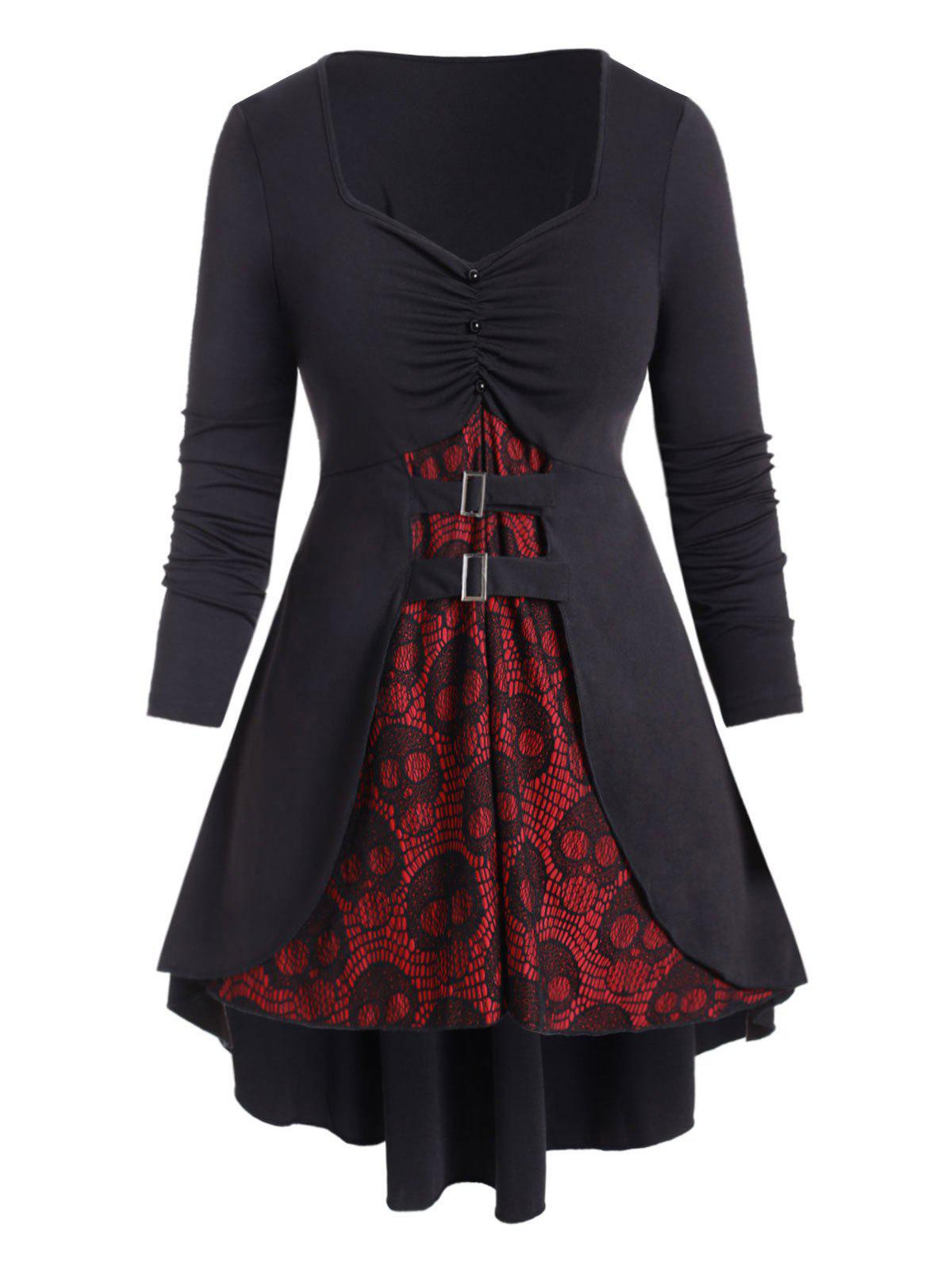Online Plus Size Halloween Skull Lace Buckle High Low T Shirt