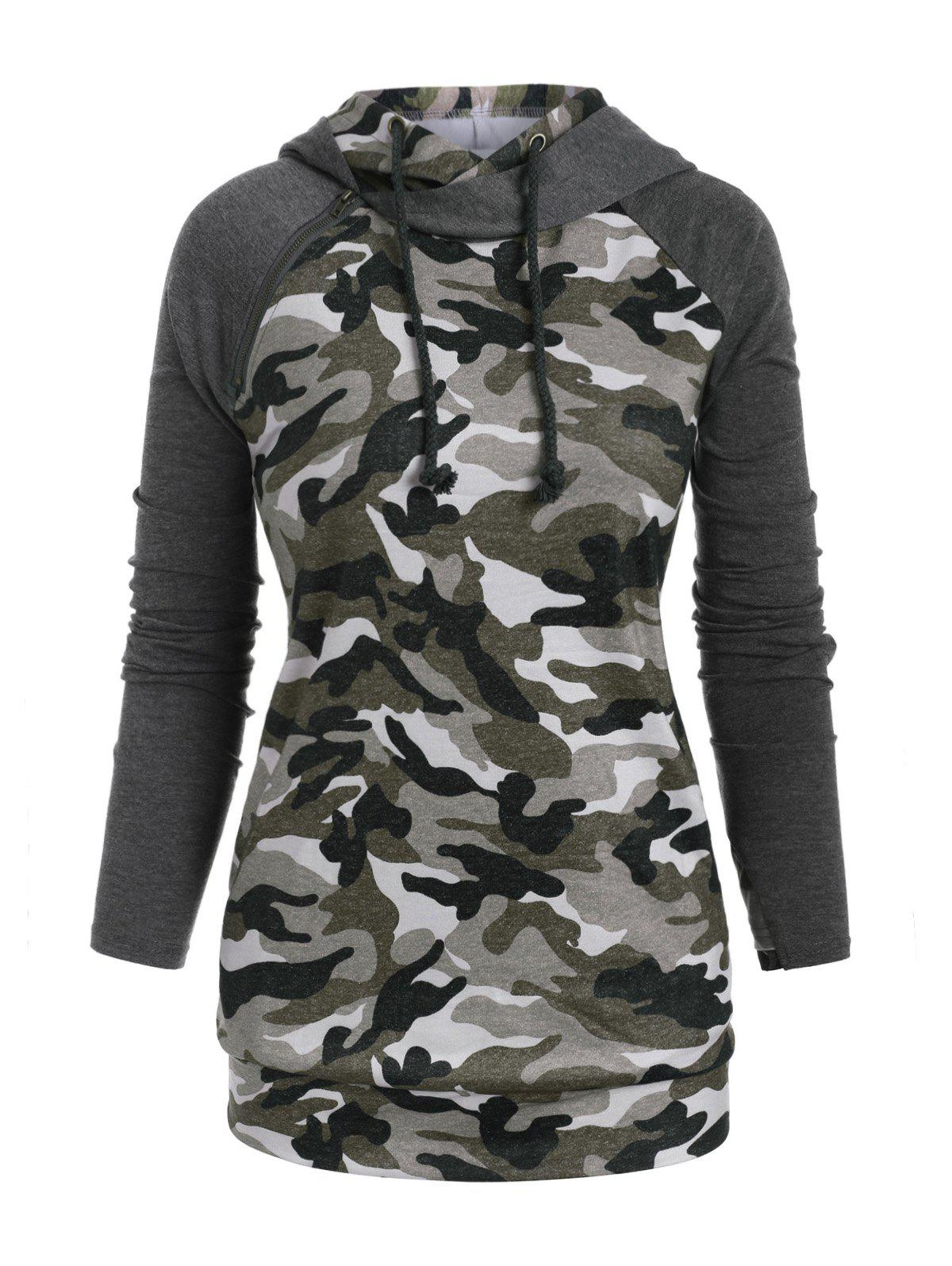 Fashion Raglan Sleeve Zippered Camouflage Pockets Plus Size Hoodie