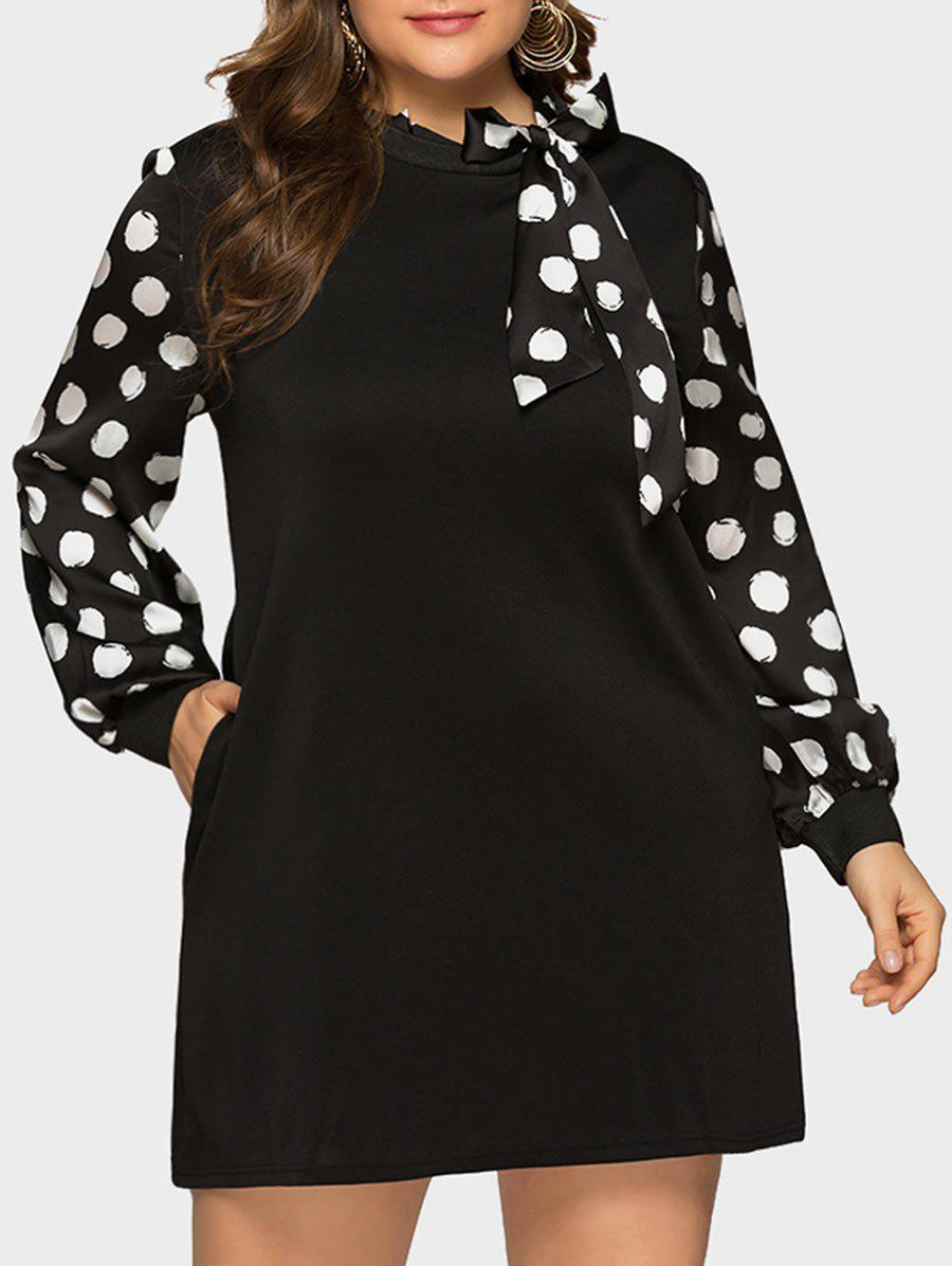 New Long Sleeve Bow Tie Polka Dot Plus Size Dress