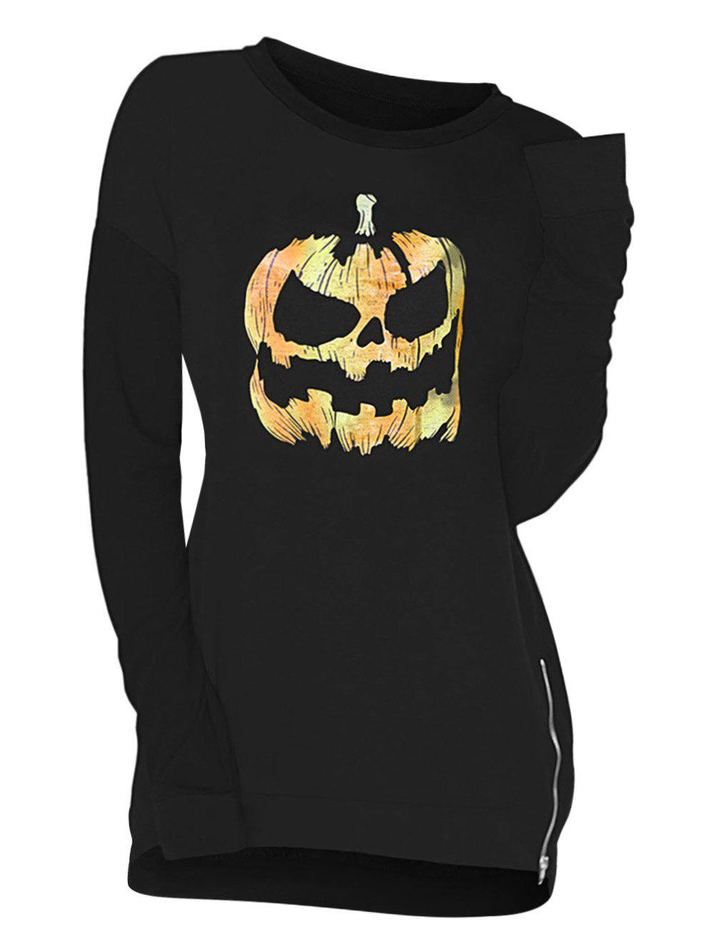 Cheap Zip Side Pumpkin Skull Halloween Plus Size Sweatshirt