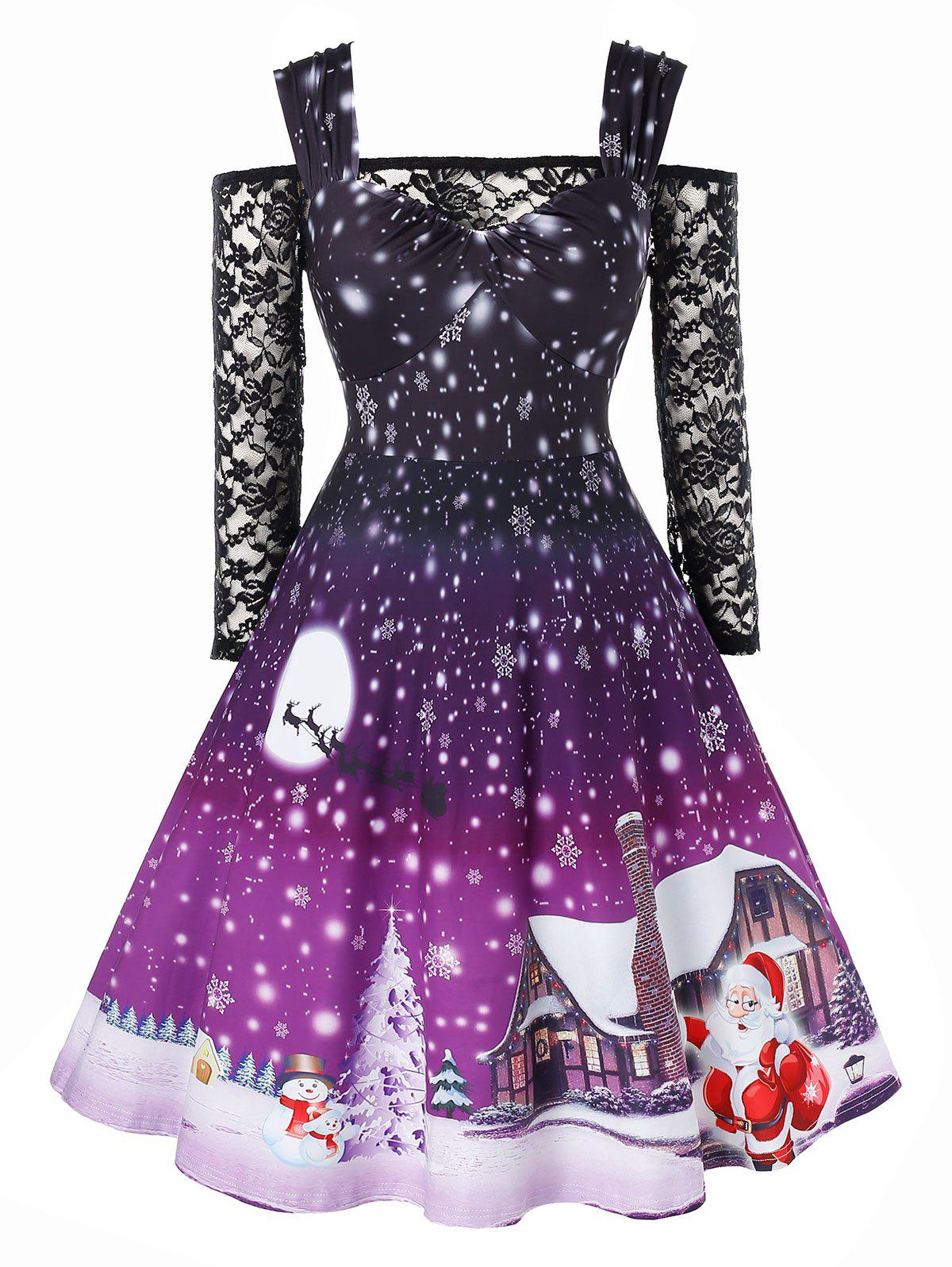 Store Plus Size Christmas Snowflake Print Vintage Dress with Off The Shoulder T Shirt