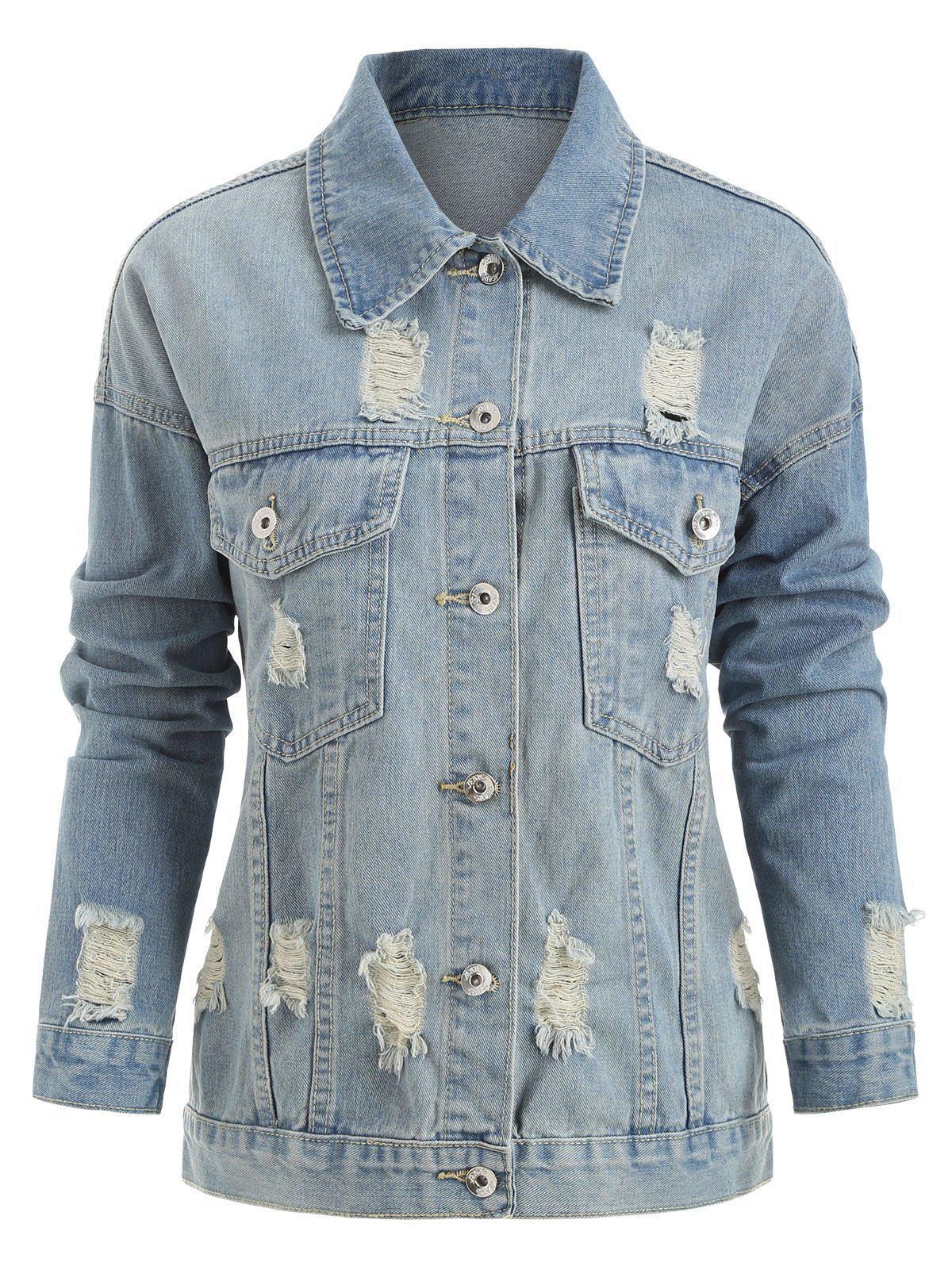 Fancy Plus Size Ripped Button Up Denim Jacket