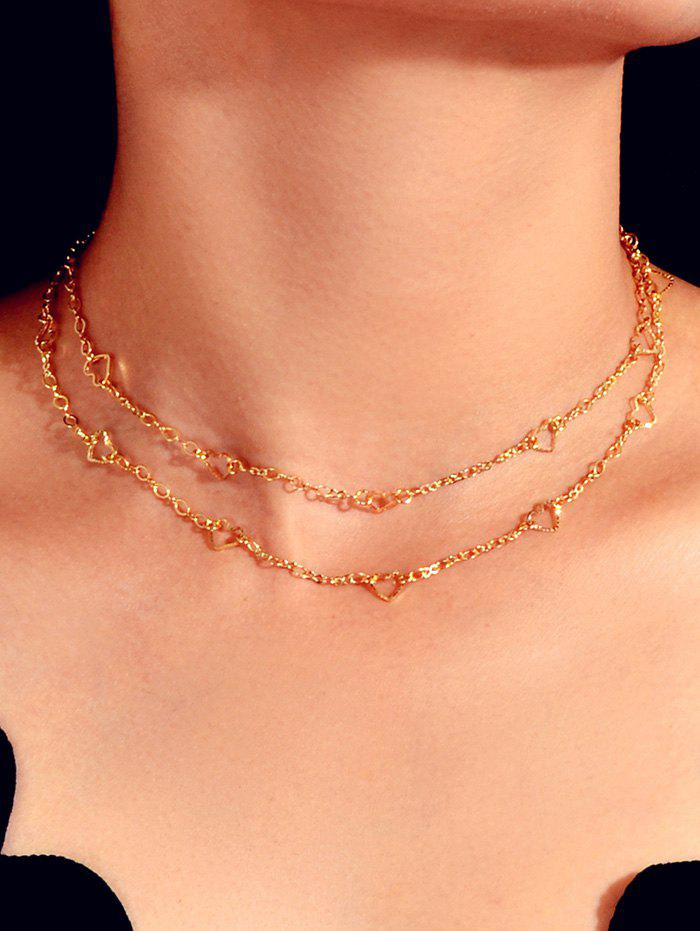 Best Hollow Out Heart Double Layers Necklace