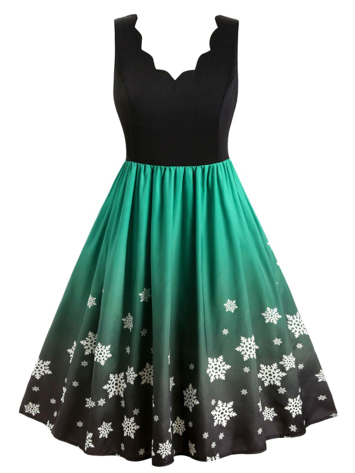 Outfit Plus Size Christmas Ombre Snowflake Print Vintage Swing Dress