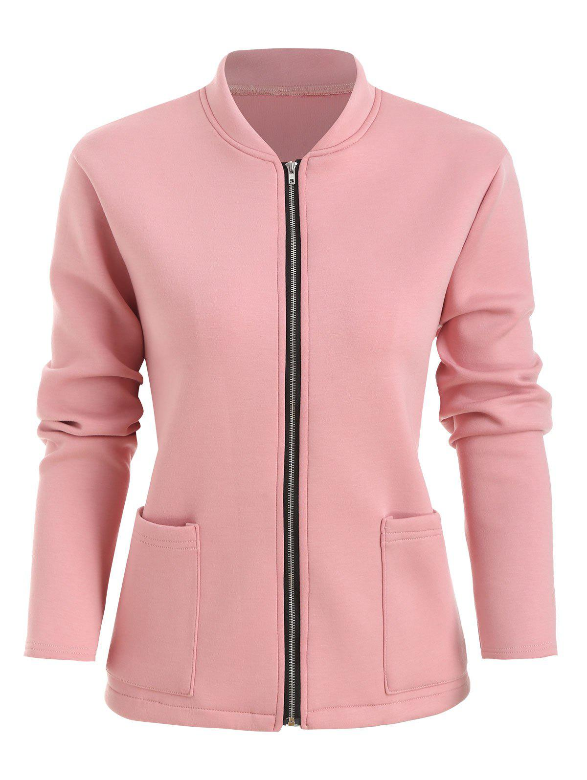 Chic Plus Size Front Pocket Zip Fly Jacket