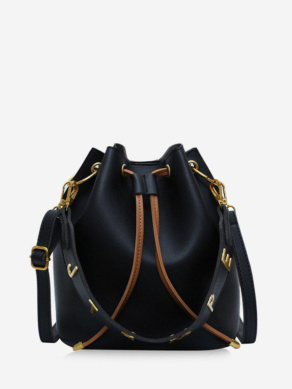 Outfit Drawstring Letter Shoulder Bucket Bag