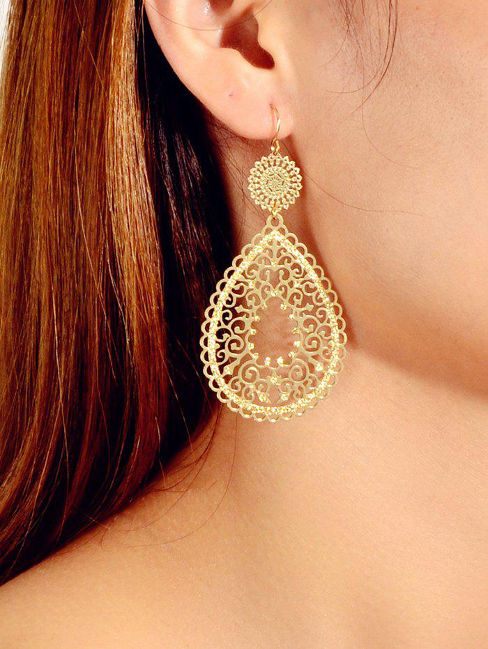 Fashion Hollowed Out Water Drop Shape Metallic Dangle Earrings