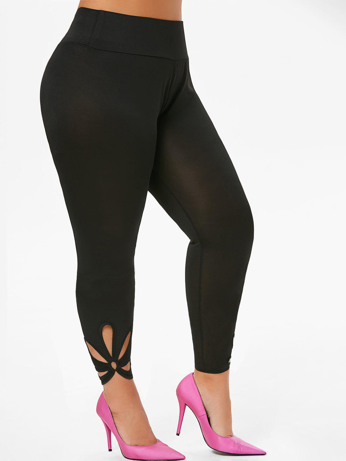Outfit High Waisted O Ring Cut Out Ninth Plus Size Leggings