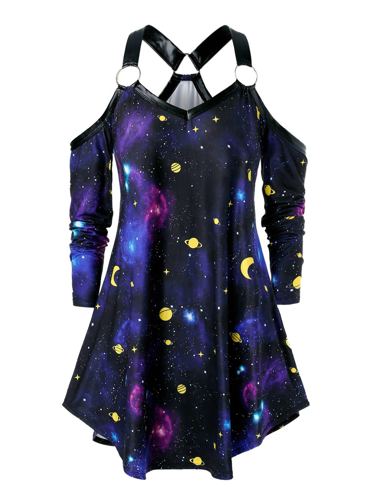 Unique Plus Size Open Shoulder O Rings 3D Galaxy Tee