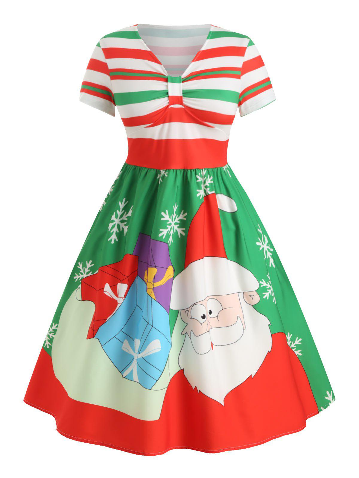 Hot Plus Size Christmas Santa Claus A Line Striped Midi Dress