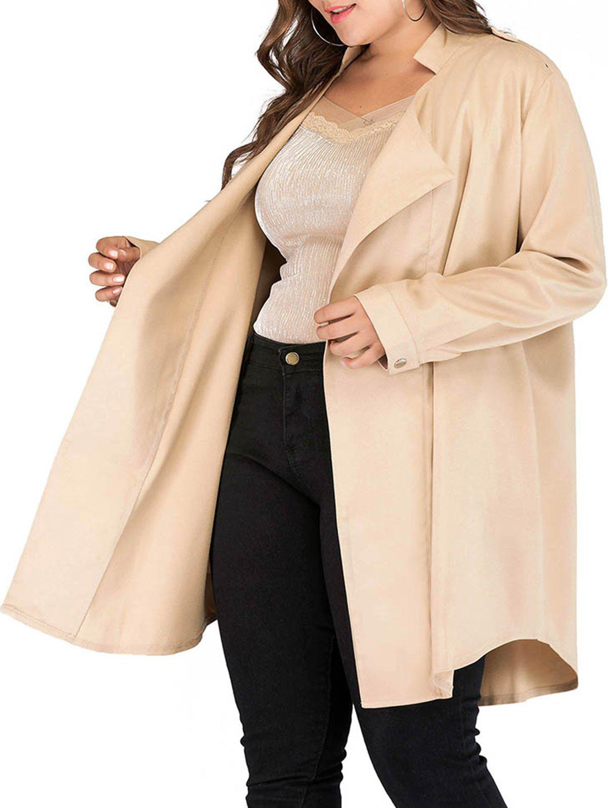 Cheap Longline Open Front Seam Pockets Plus Size Coat