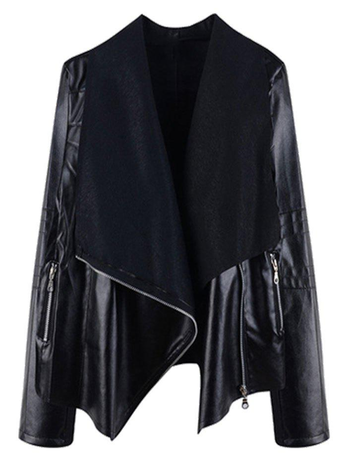 Unique Zippered PU Leather Ribbed Panel Plus Size Biker Jacket