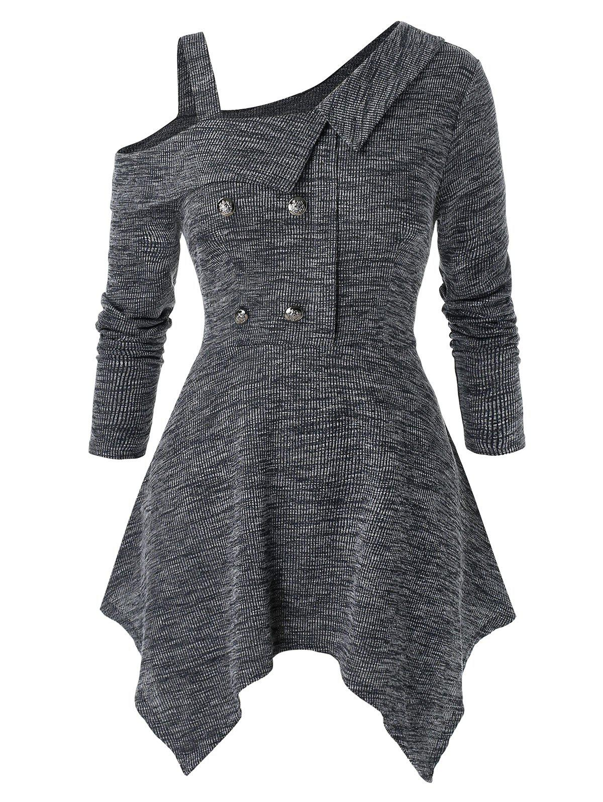 Latest Plus Size Casual Asymmetric Long Sleeve Button Fit And Flare Sweater