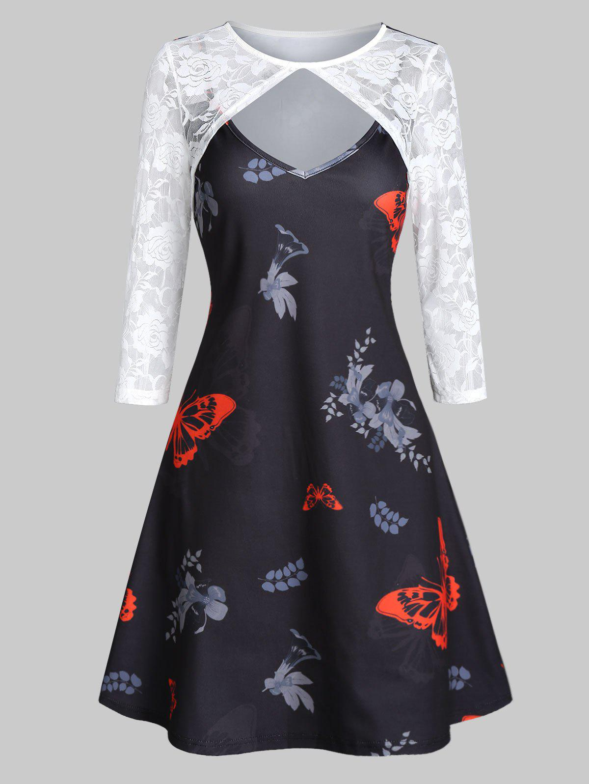 Affordable Cut Out Lace Sleeve Butterfly Print Mini Dress