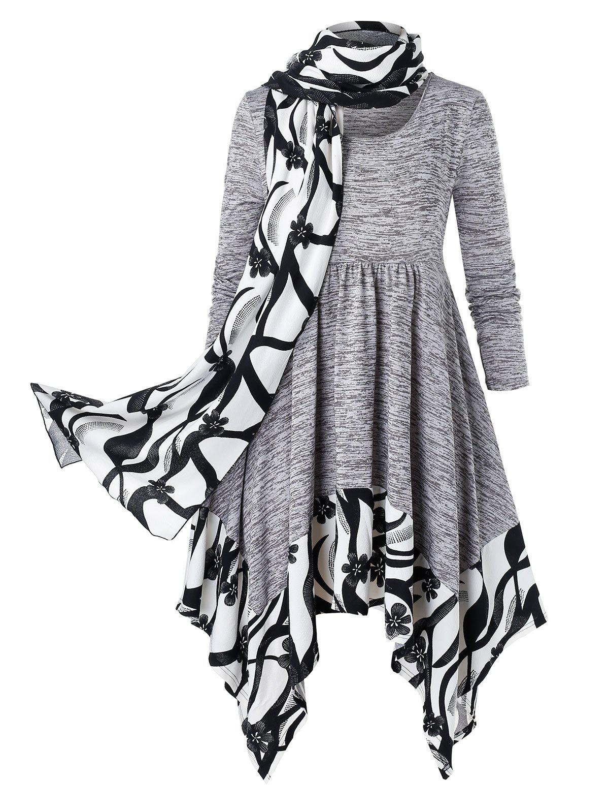 Buy Plus Size Handkerchief Marled Floral Dress With Scarf