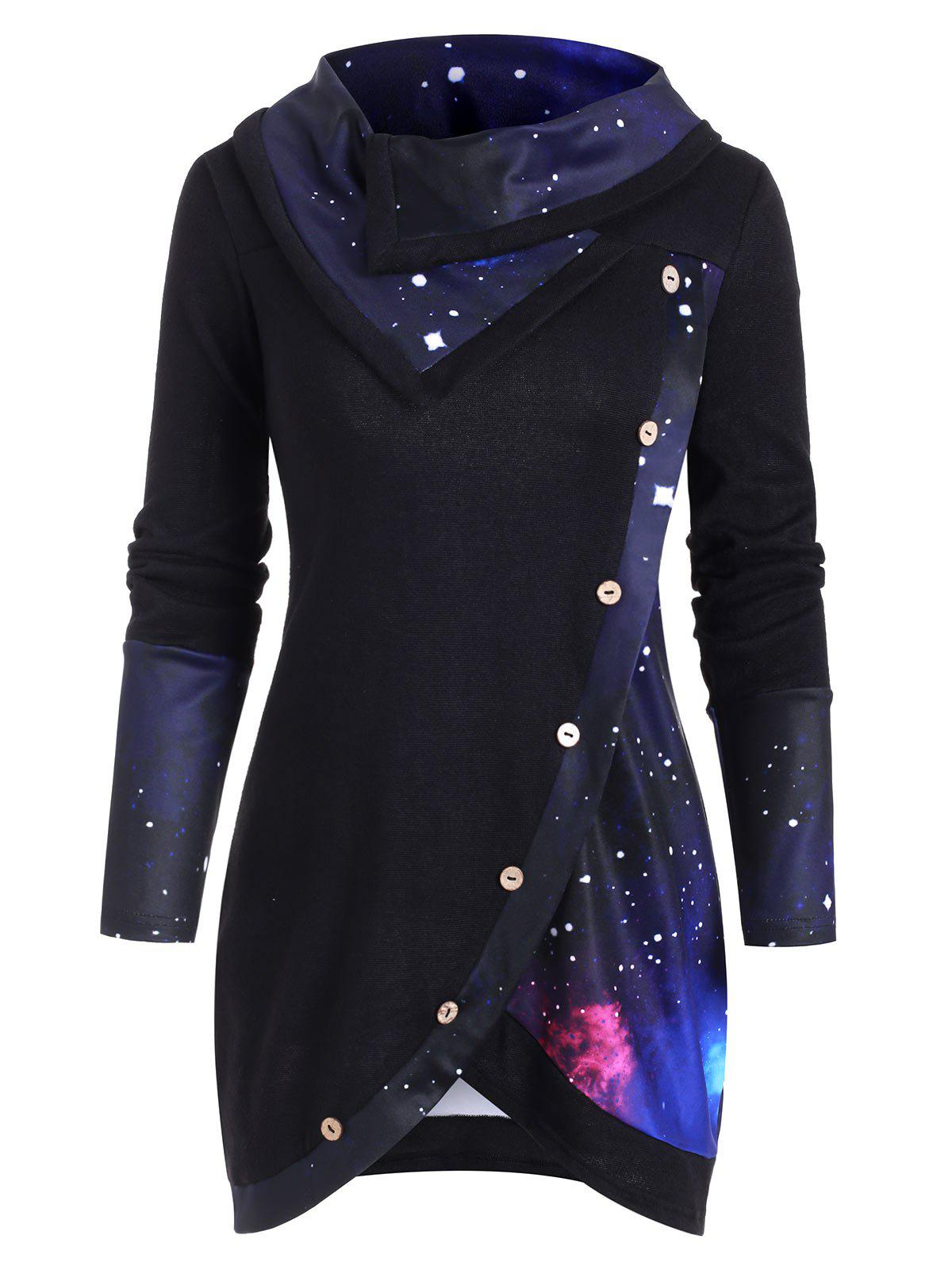 Discount Galaxy Print Panel Mock Button Cowl Neck Sweater