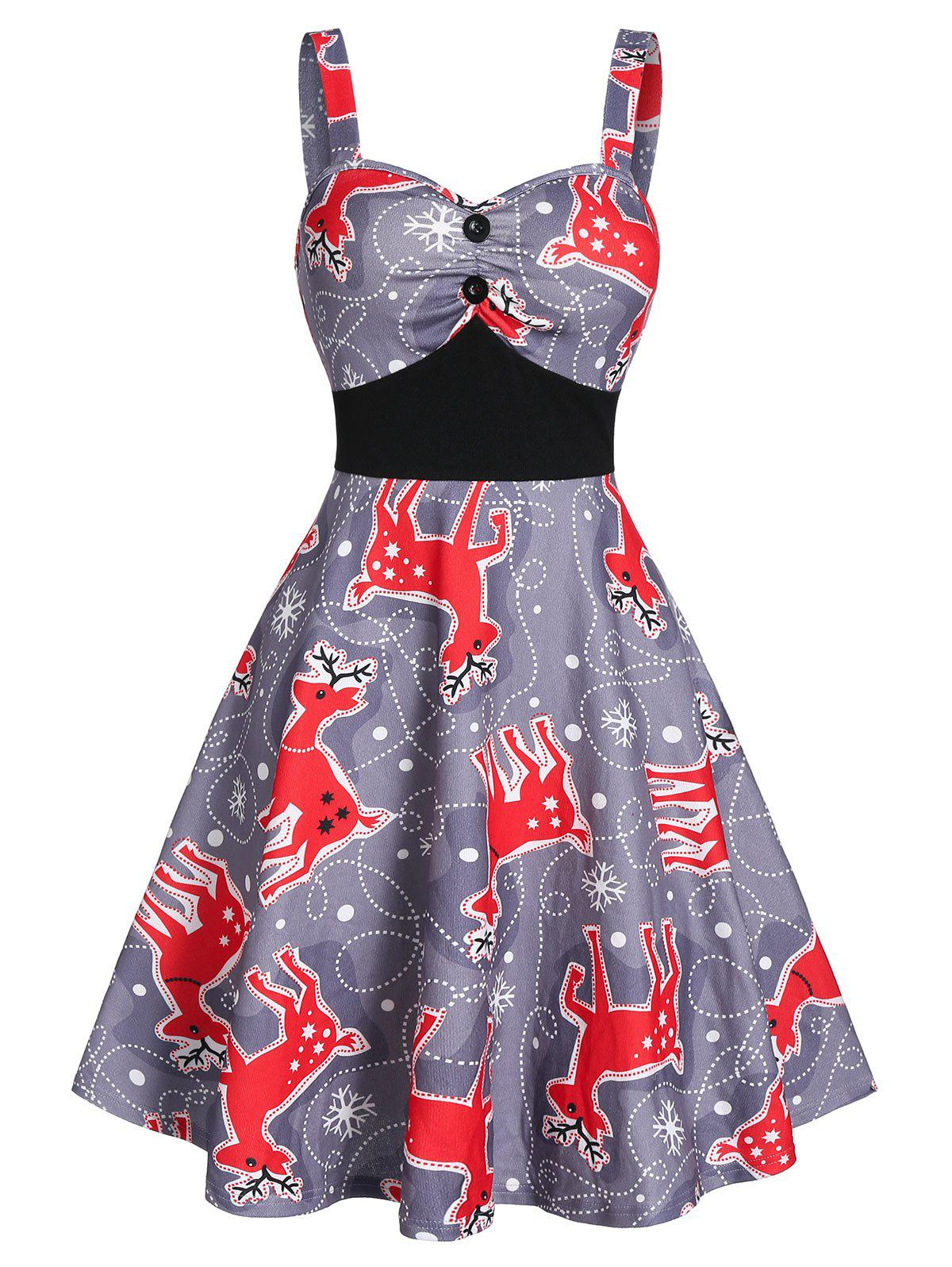 Discount Fit And Flare Deer Print Button Knee Length Casual Dress