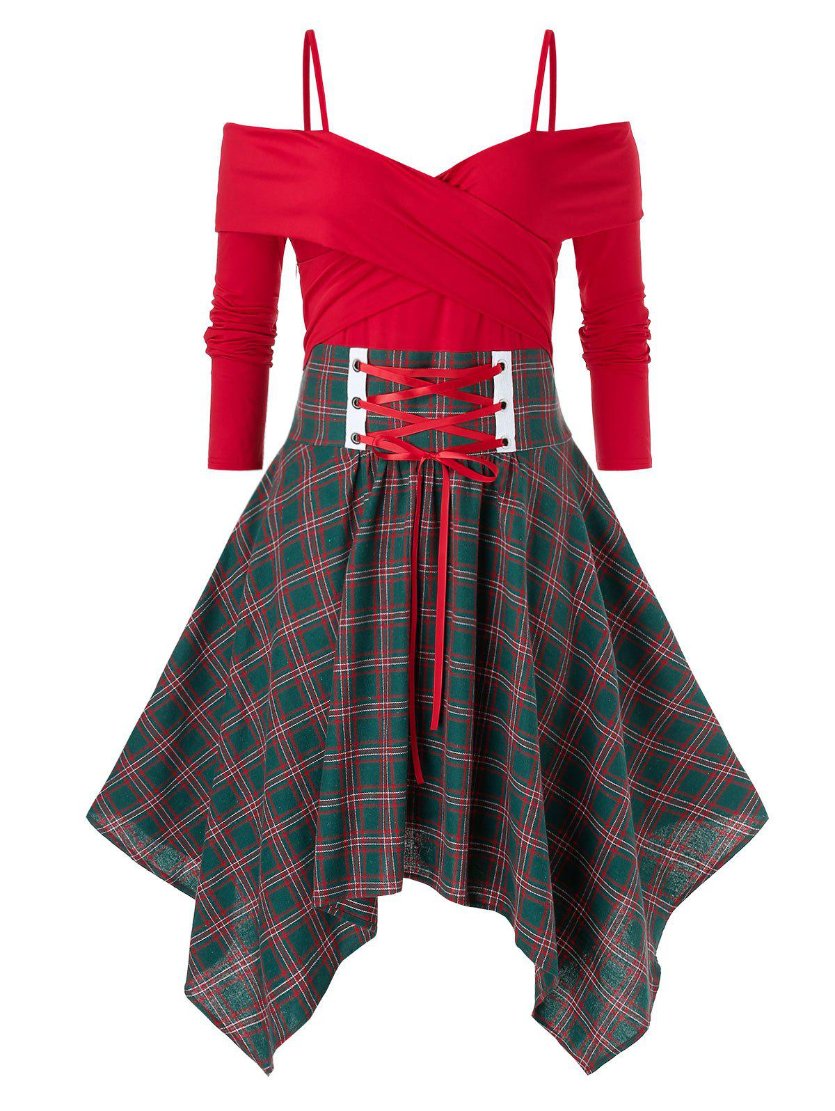 Sale Plus Size Handkerchief  Crossover Lace Up Plaid Dress