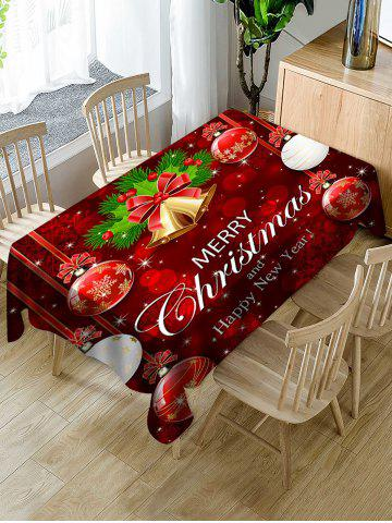 Merry Christmas Bell Ball Fabric Waterproof Table Cloth