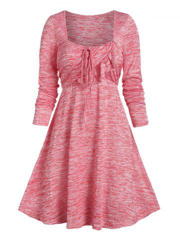Space Dye Ruffle String Square Neck A Line Dress