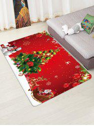 Christmas Tree Snowman Print Bath Floor Rug -