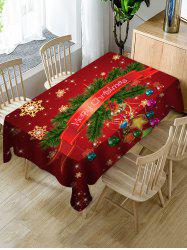 Merry Christmas Snowflake Print Fabric Waterproof Tablecloth -