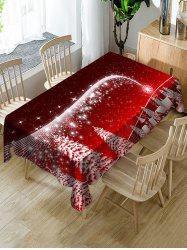 Christmas Tree Village Print Fabric Waterproof Tablecloth -