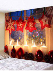 Christmas Candle Window Print Tapestry Wall Hanging Art Decoration -