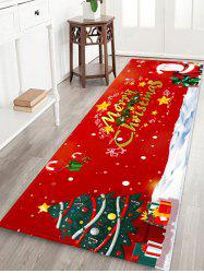 Merry Christmas Tree Santa Claus Print Floor Rug -