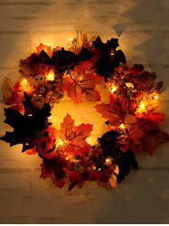 Halloween Pumpkin Ghost Maple Leaf Wreath with Light -