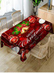 Merry Christmas Bell Ball Fabric Waterproof Table Cloth -
