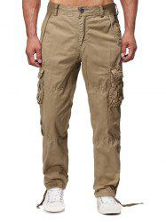 Solid Flap Pocket Long Straight Cargo Pants -