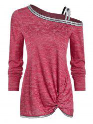 Skew Neck Front Twist Marled T Shirt -