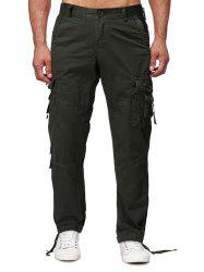 Long Straight Solid Flap Pocket Cargo Pants -