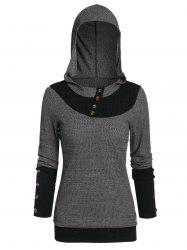Button Embellished Hooded Contrast Ribbed Knitwear -