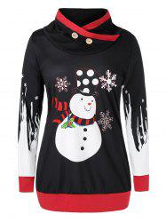 Plus Size Christmas Snowman Snowflake Print High Neck Sweatshirt -