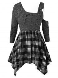 Plus Size Plaid Pattern Skew Neck T-Shirt -