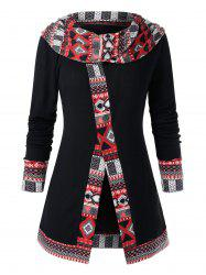 Plus Size Cowl Collar Ethnic Pattern Top -