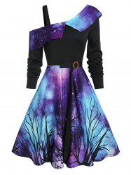 Halloween Starry Sky Pattern Skew Neck Dress -