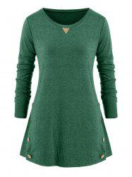 Mock Button Elbow Patched Plus Size Long Sleeve Top -