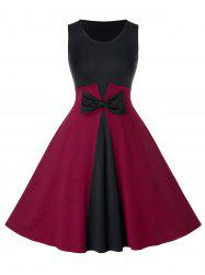 Plus Size Vintage Bowknot Colorblock Swing Dress -